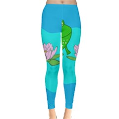 Frog Flower Lilypad Lily Pad Water Leggings