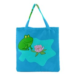 Frog Flower Lilypad Lily Pad Water Grocery Tote Bag by BangZart