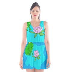 Frog Flower Lilypad Lily Pad Water Scoop Neck Skater Dress