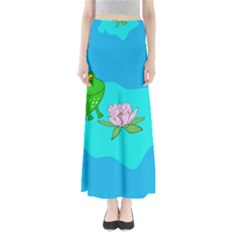 Frog Flower Lilypad Lily Pad Water Full Length Maxi Skirt