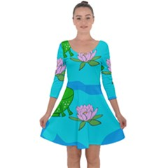 Frog Flower Lilypad Lily Pad Water Quarter Sleeve Skater Dress