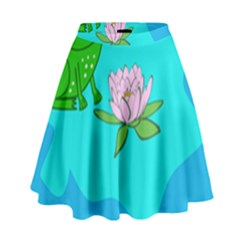 Frog Flower Lilypad Lily Pad Water High Waist Skirt