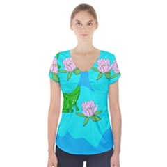 Frog Flower Lilypad Lily Pad Water Short Sleeve Front Detail Top