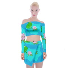 Frog Flower Lilypad Lily Pad Water Off Shoulder Top With Mini Skirt Set