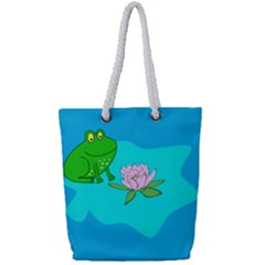 Frog Flower Lilypad Lily Pad Water Full Print Rope Handle Tote (small)