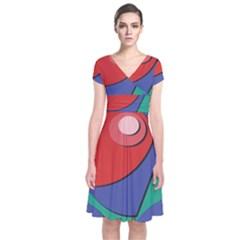 Clipart Portrait Illustration Short Sleeve Front Wrap Dress