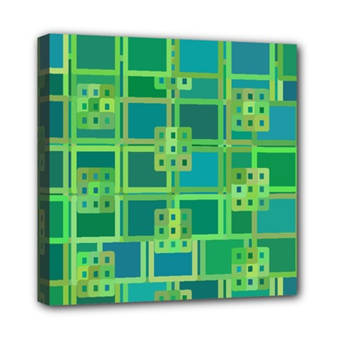 Green Abstract Geometric Mini Canvas 8  X 8