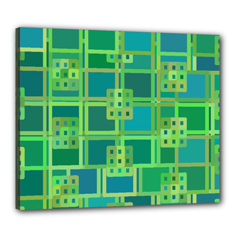 Green Abstract Geometric Canvas 24  X 20