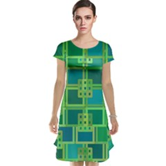 Green Abstract Geometric Cap Sleeve Nightdress