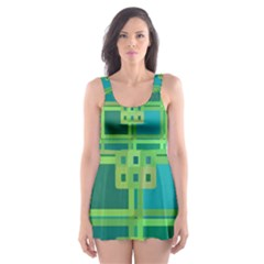 Green Abstract Geometric Skater Dress Swimsuit