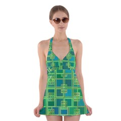 Green Abstract Geometric Halter Dress Swimsuit