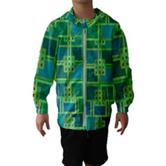 Green Abstract Geometric Hooded Wind Breaker (kids)