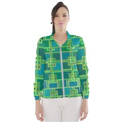 Green Abstract Geometric Wind Breaker (women)