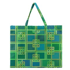 Green Abstract Geometric Zipper Large Tote Bag