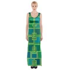 Green Abstract Geometric Maxi Thigh Split Dress