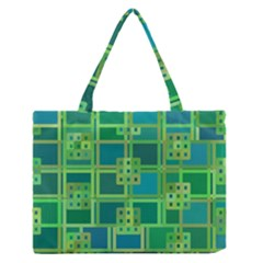 Green Abstract Geometric Zipper Medium Tote Bag