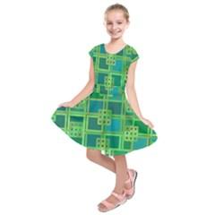 Green Abstract Geometric Kids  Short Sleeve Dress