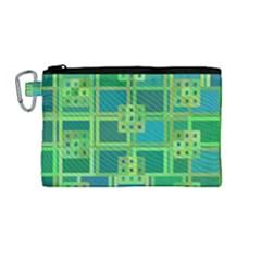Green Abstract Geometric Canvas Cosmetic Bag (medium) by BangZart