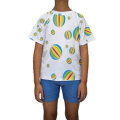Balloon Ball District Colorful Kids  Short Sleeve Swimwear