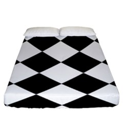 Grid Domino Bank And Black Fitted Sheet (king Size) by BangZart