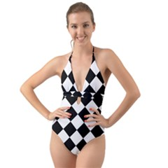 Grid Domino Bank And Black Halter Cut Out One Piece Swimsuit