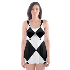 Grid Domino Bank And Black Skater Dress Swimsuit