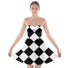 Grid Domino Bank And Black Strapless Bra Top Dress