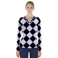 Grid Domino Bank And Black V Neck Long Sleeve Top