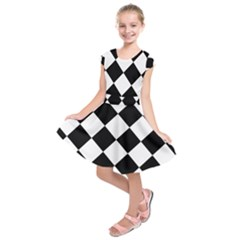 Grid Domino Bank And Black Kids  Short Sleeve Dress