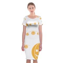 Pumpkin Halloween Deco Garland Classic Short Sleeve Midi Dress