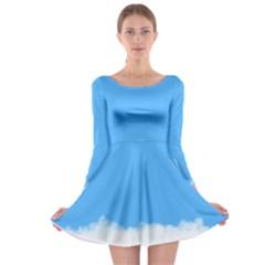 Sky Blue Blue Sky Clouds Day Long Sleeve Skater Dress
