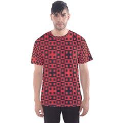 Abstract Background Red Black Men s Sports Mesh Tee