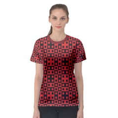 Abstract Background Red Black Women s Sport Mesh Tee