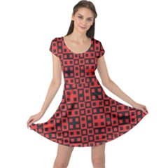 Abstract Background Red Black Cap Sleeve Dress