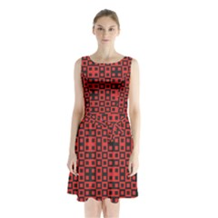 Abstract Background Red Black Sleeveless Waist Tie Chiffon Dress