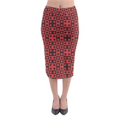 Abstract Background Red Black Midi Pencil Skirt