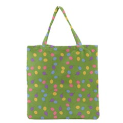 Balloon Grass Party Green Purple Grocery Tote Bag
