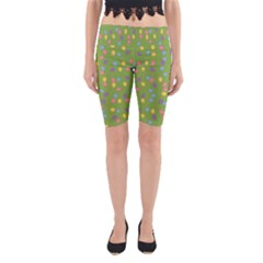 Balloon Grass Party Green Purple Yoga Cropped Leggings