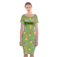 Balloon Grass Party Green Purple Classic Short Sleeve Midi Dress