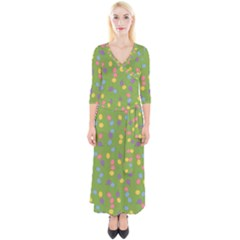 Balloon Grass Party Green Purple Quarter Sleeve Wrap Maxi Dress