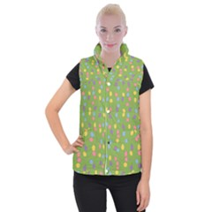 Balloon Grass Party Green Purple Women s Button Up Puffer Vest