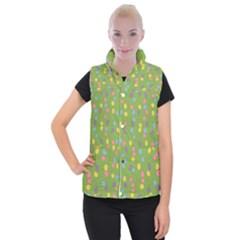 Balloon Grass Party Green Purple Women s Button Up Puffer Vest