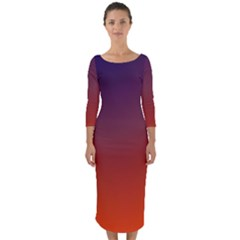 Course Colorful Pattern Abstract Quarter Sleeve Midi Bodycon Dress