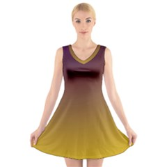 Course Colorful Pattern Abstract V Neck Sleeveless Skater Dress