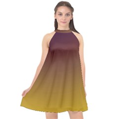 Course Colorful Pattern Abstract Halter Neckline Chiffon Dress