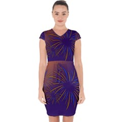 Sylvester New Year S Day Year Party Capsleeve Drawstring Dress