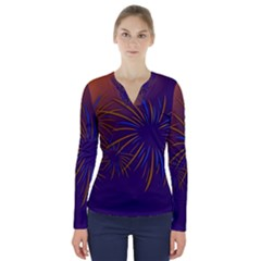 Sylvester New Year S Day Year Party V Neck Long Sleeve Top