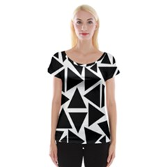 Template Black Triangle Cap Sleeve Tops