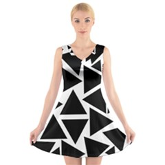 Template Black Triangle V Neck Sleeveless Skater Dress