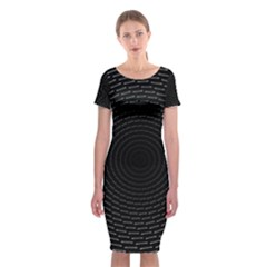 Q Tips Collage Space Classic Short Sleeve Midi Dress